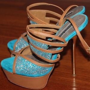 Adrienne Maloof Teal Heels Size 6.5